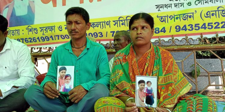 Parents of the missing kids sit for fast unto death in Silchar on Wednesday. Image: Northeast Now