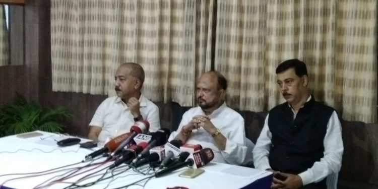 Prafulla Kumar mahanta addressing the media in Guwahati on Friday. Image: Northeast Now