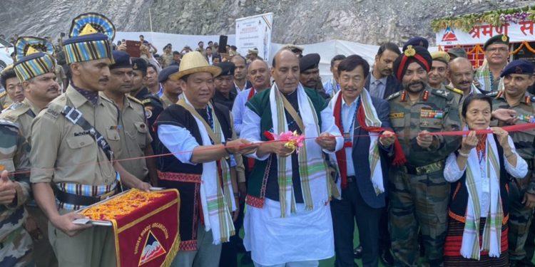 Defence minister Rajnath Singh inaugurating the Sisseri River Bridge at Lower Dibang Valley in Arunachal Pradesh. Image credit: Twitter