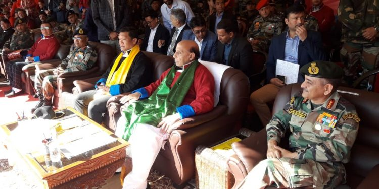 Defence minister Rajnath Singh attending Maitree Diwas in Tawang. Image credit: Twitter.