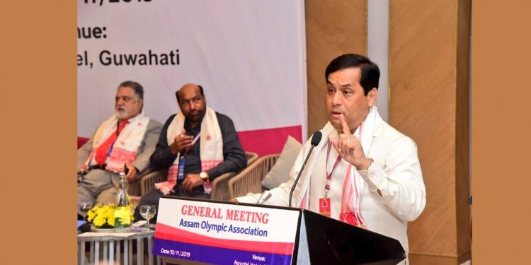 Assam CM Sarbananda Sonowal addressing AOA general meeting.