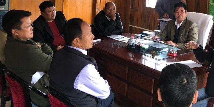 Arunachal Pradesh Legislative Assembly speaker PD Sona at the meeting.