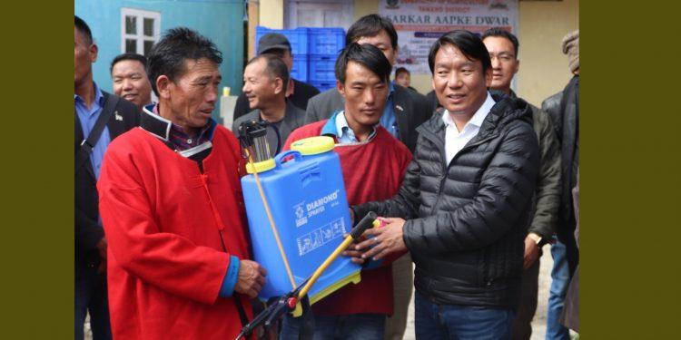 Tawang MLA Tsering Tashi (right) in SAD camp
