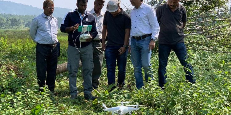 This is for the first time in Assam a drone has been successfully used for locating a problematic animal inside a forest area.