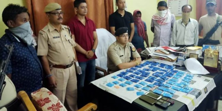 Cachar police on Tuesday seized a huge quantity of Yaba tablets in Silchar and arrested five suspected drug smugglers
