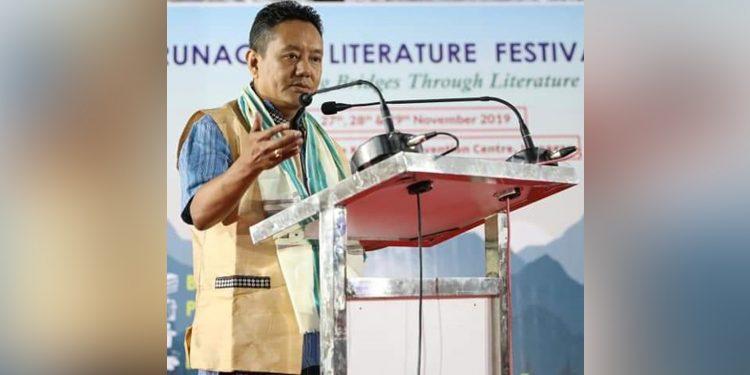 Assembly Speaker PD Sona addressing the Arunachal Literature Festival