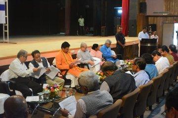 Tripura chief minister Biplab Deb chairing a preparatory meet on 38th Agartala Book Fair in Agartala on November 11, 2019. Image: Twitter @BjpBiplab