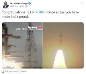 DoNER minister congratulates ISRO for Cartosat-3 launch 1