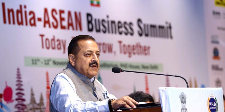 DoNER minister Jitendra Singh addressing the India-ASEAN business summit in New Delhi. Image: Northeast Now