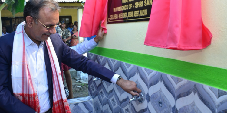 Executive director & asset manager, Assam Asset,Sanjeev Kakran inaugurating the drinking water project at Dhitaipukhuri High School. Handout image
