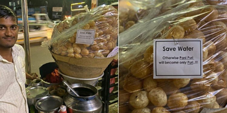 Panipuri vendor in Guwahati with a message to save water