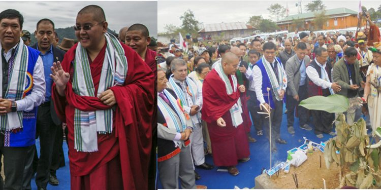 Arunachal Pradesh CM Pema Khandu with Ling Rinpoche and (right) Bhumi Pujan on the occasion of Indigenous Faith Day at Pasighat on Sunday. Image credit – Northeast Now