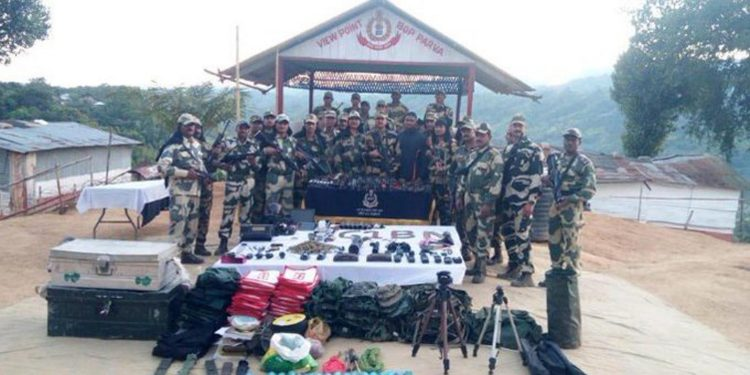 BSF recovers arms, grenade launcher dumped by Myanmarese rebels 1