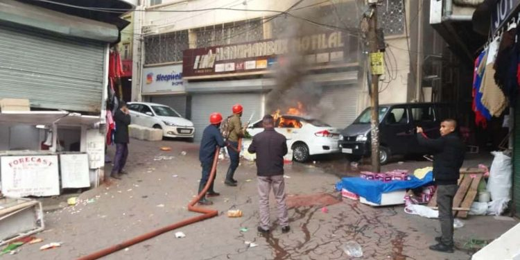 Car catches fire in Shillong