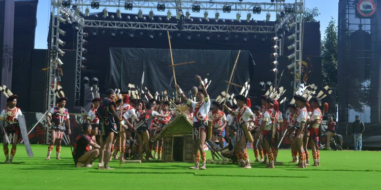 A cultural troupe performs on the third day of Hornbill Festival on Tuesday. Image credit - Northeast Now