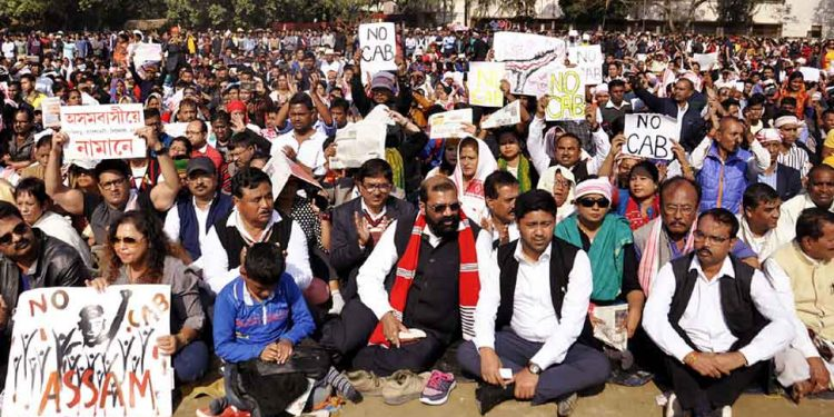 AASU and 28 other organisations launched a three-day satyagraha at Latasil ground in Guwahati.