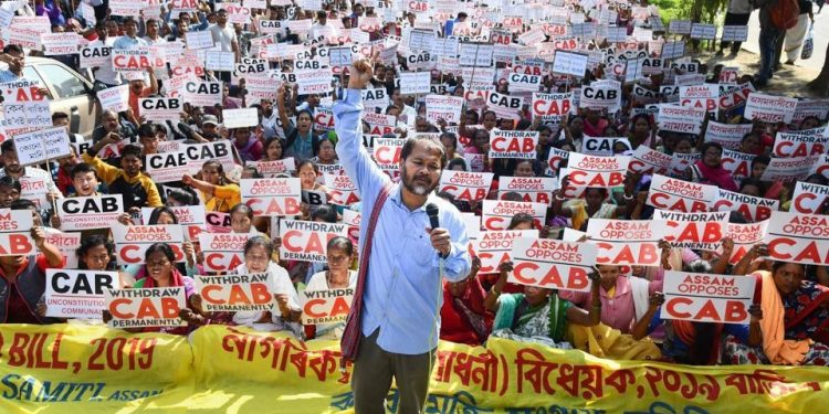 KMSS leader Akhil Gogoi with supporters raises slogans during a protest against Citizenship (Amendment) Act, in Guwahati. (File image)