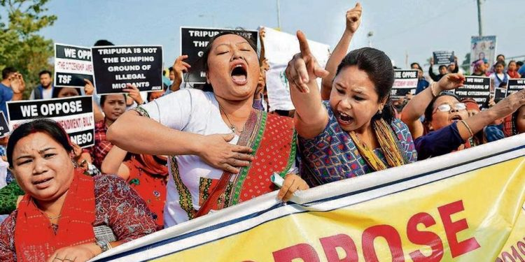 Protest against Citizenship Amendment Act (CAA) in Agartala (file image).