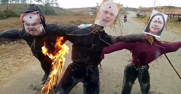 The anti- CAB protesters burnt effigies of PM Narendra Modi, home minister Amit Shah, Meghalaya governor Tathagata Roy and Tura MP Agatha K sangma in Shillong.