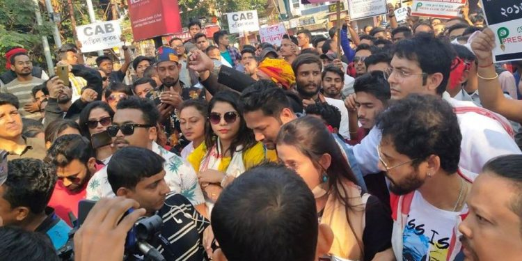 A large number of celebrities and their fans took out a rally against the bill from Chandmari to AASU headquarters in Guwahati.
