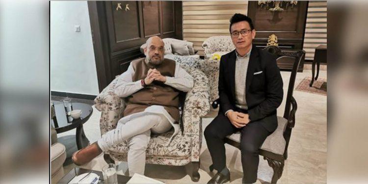 Bhaichung Bhutia with Amit Shah
