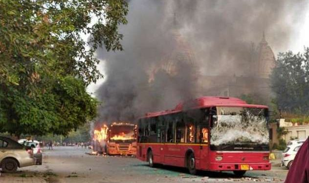 Four buses were set ablaze by anti-CAA protesters and two fire officials were injured in stone pelting.
