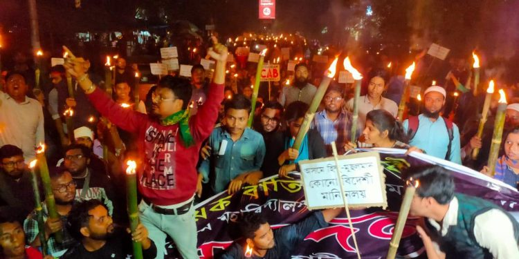 Cotton University students take part in an anti-CAB protest in Guwahati.