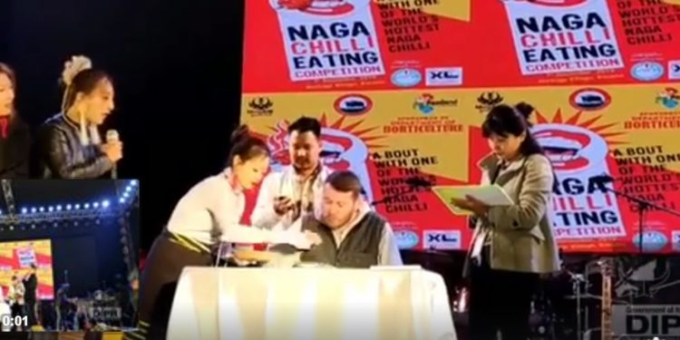 Naga chilli eating competition