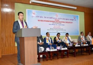 Manipur education minister Thokchom Radhehsyam speaking at the valedictory function of the two-day NE India-Myanmar Business and Education Conclave 2019 in Imphal on December 21, 2019. Image courtesy: ifp.co.in