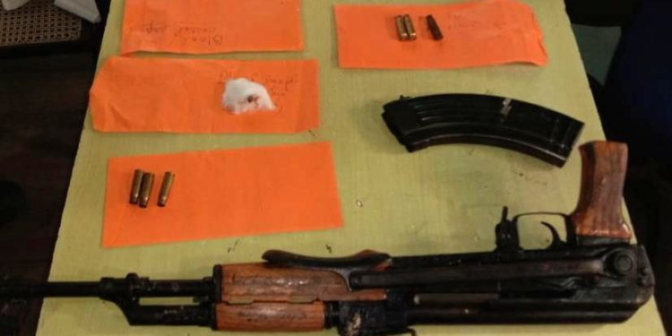 One AK series rifle with huge quantity of ammunition and other war like stores were recovered from the slain insurgent.