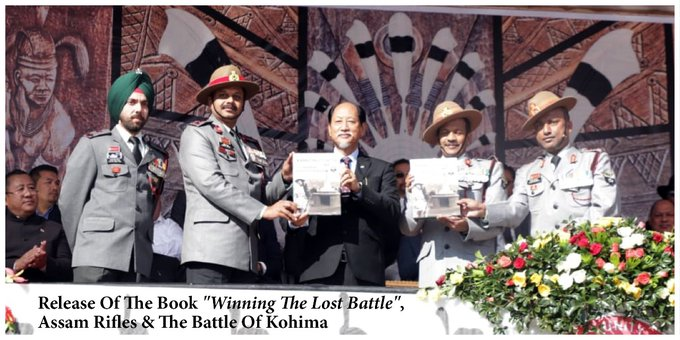 Nagaland chief minister Neiphiu Rio releasing a book, 'Winning the Lost Battle', on Statehood Day. Image courtesy: Twitter @Neiphiu_Rio