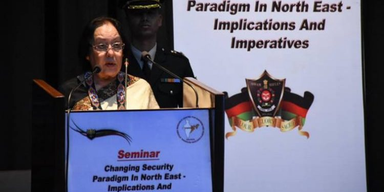 Manipur governor Najma Heptulla speaking at the seminar in Imphal on Thursday.