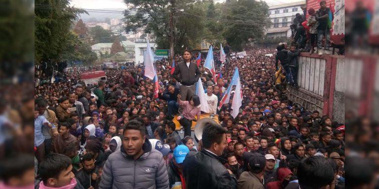 Protest in front of Raj Bhavan, Shillong