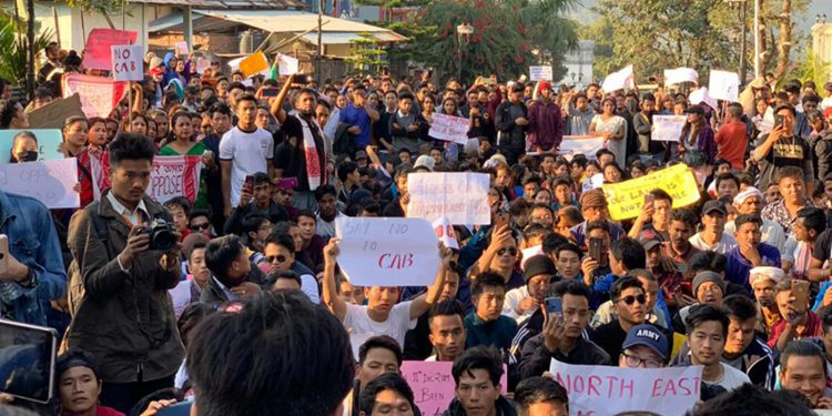 RGU and NERIST students taking out rally against Citizenship Act. Image credit: The Arunachal Times