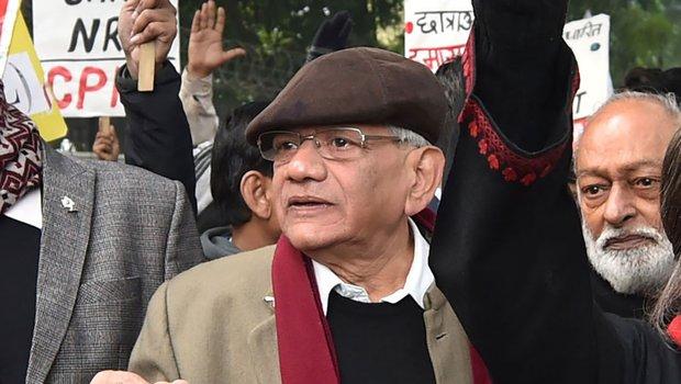 Sitaram Yechury  during an anti-CAA protest.