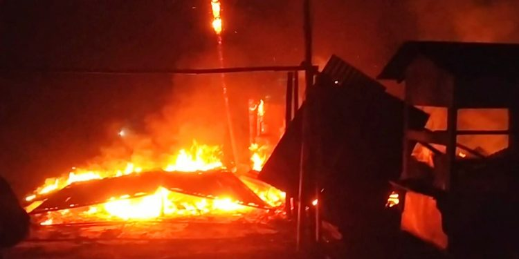 Scenes in Pathsala after a fire engulfed a blacksmith shop and a hotel on Sunday night. Image: Northeast Now