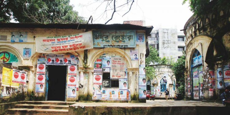 Madhur Canteen in DU premises in front of which three crude bombs exploded on Sunday.