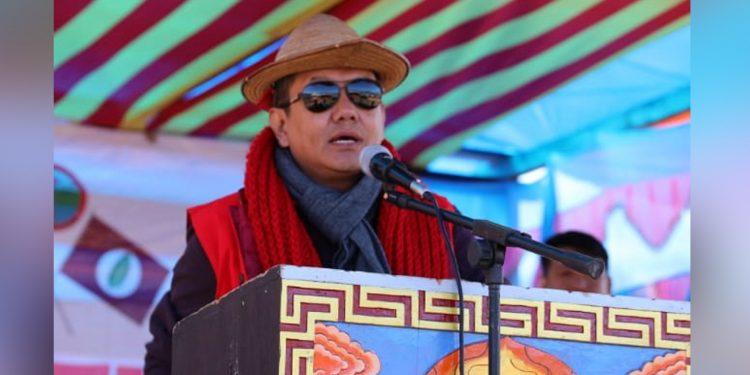 Arunachal Speaker PD Sona in Mechuka on Friday. Image: Northeast Now