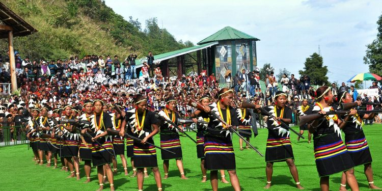 A Konyak cultural troupe presenting a dance performance at Hornbill Festival on Monday. Image: Northeast Now