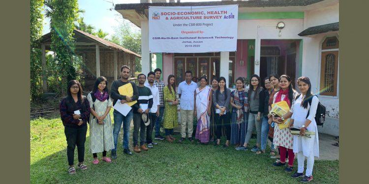 A PhD scholar team of CSIR-NEIST whose survey revealed that a Jorhat village has no doctors or a health care centre. Image: Northeast Now