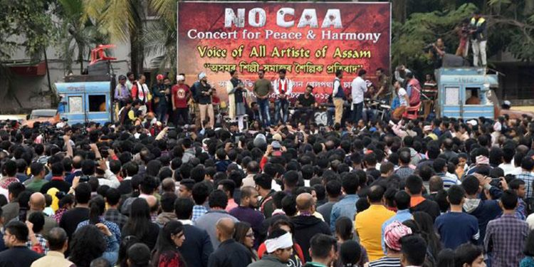 Protest against CAA by artist fraternity of Assam in Guwahati on Sunday. Image credit: Sakaltimes.com