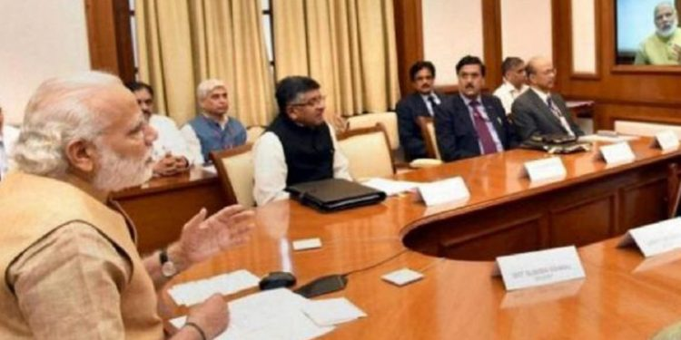 PM Narendra Modi chairing a meeting on NPR on Tuesday. Image credit: India TV