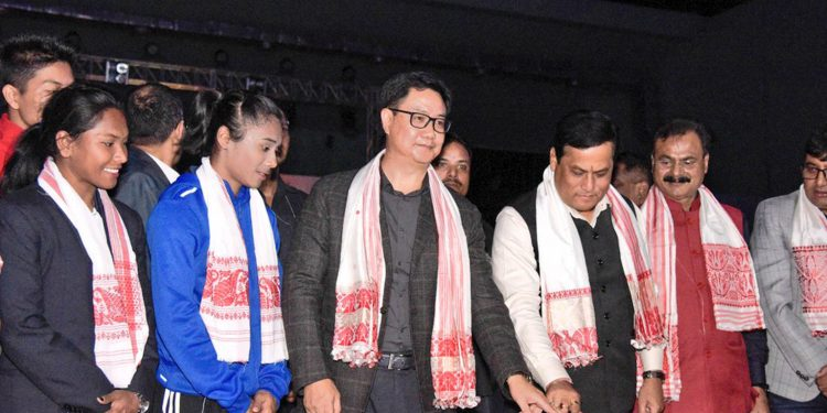 Union sports minister Kiren Rijiju along with Assam CM Sarbananda Sonowal and other dignitaries during the launch of 3rd Khelo India Youth Games. Image credit: Twitter
