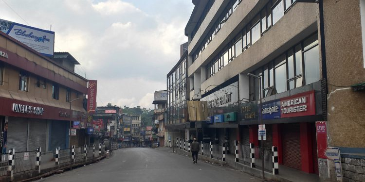 Commercial area at Khyndai Lad wears deserted look. Image: Northeast Now