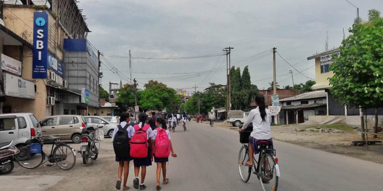 School students on their way back home in Udalguri. Image: Northeast Now