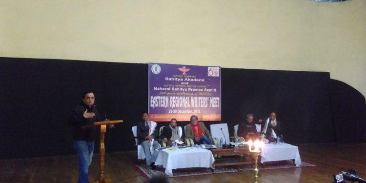 Bratya Basu speaking at the Eastern Regional Writers' meet in Imphal. Image: Northeast Now