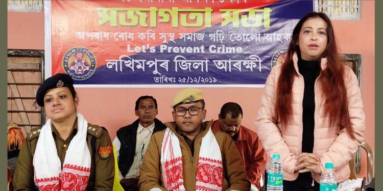 Journalist Farhana Ahmed (standing right) speaking at awareness meet on preventing crime. Image: Northeast Now