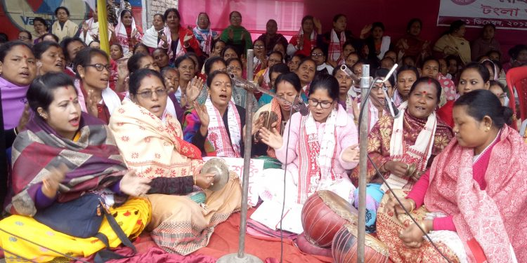 Women protesting against CAA in Udalguri. Image: Northeast Now