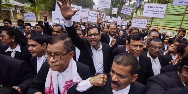 Lawyers staging protest against CAA in Assam. Image credit: Daily World
