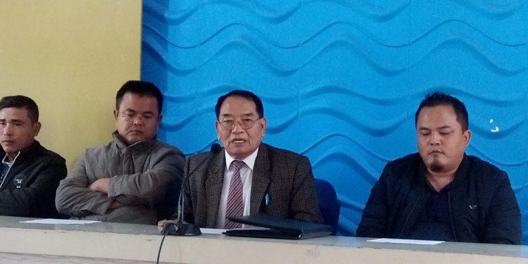 Mizoram NPP president Hmingdailova Khiangte attending the press. Image: Northeast Now